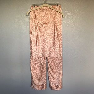 NWOT Victoria's Secret Pink Satin Cheetah PJ Set